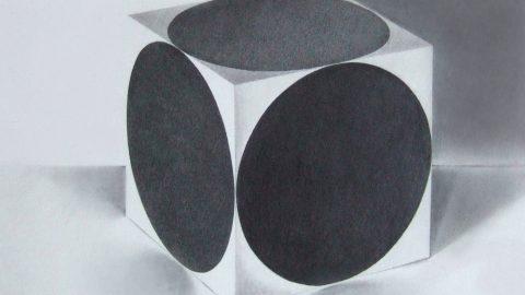 Crayon graphite, Le cube blanc aux points noirs, Anne-Marie Bugna