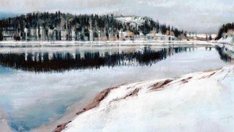 PETIT MATIN D'HIVER, au Lac Blanc, PASTEL, 2019, Atelier le gué. jpg