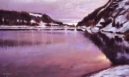 AUBE ROSE, Lac Blanc, PASTEL, 2019, Atelier le gué, jpg
